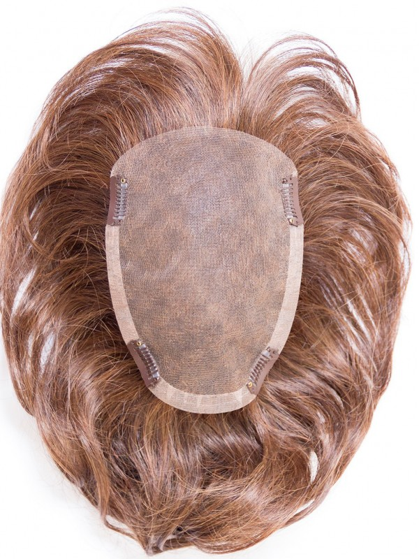 Kurz Gerade Braun Echthaar Mono Haarteile